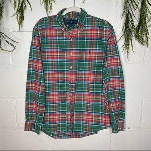 Ralph Lauren Custom Fit Plaid Button Front Shirt L